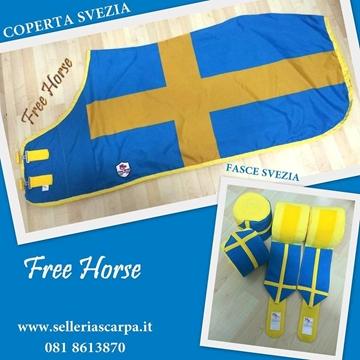 Immagine di COPERTE + FASCE PERSONALIZZATE BANDIERA FREE HORSE