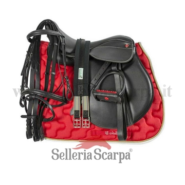 Immagine di SET SELLA INGLESE COMPLETA PRO LIGHT ROSSO NEING1NEW003