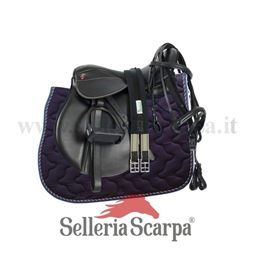 Immagine di SET SELLA INGLESE COMPLETA PRO LIGHT BLU NAVY NEING1NEWBLU